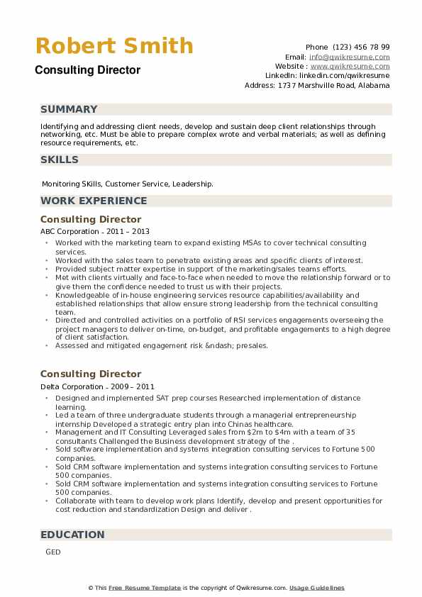 Consulting Director Resume example