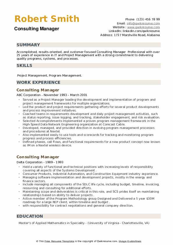 Consulting Manager Resume example