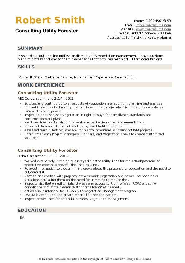 Consulting Utility Forester Resume example