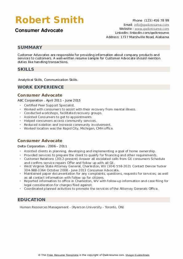 Consumer Advocate Resume example