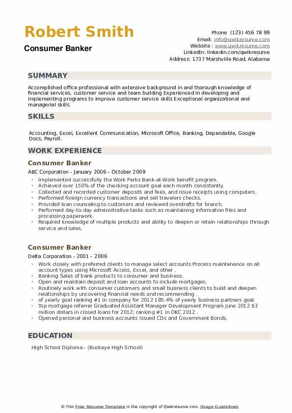 Consumer Banker Resume example
