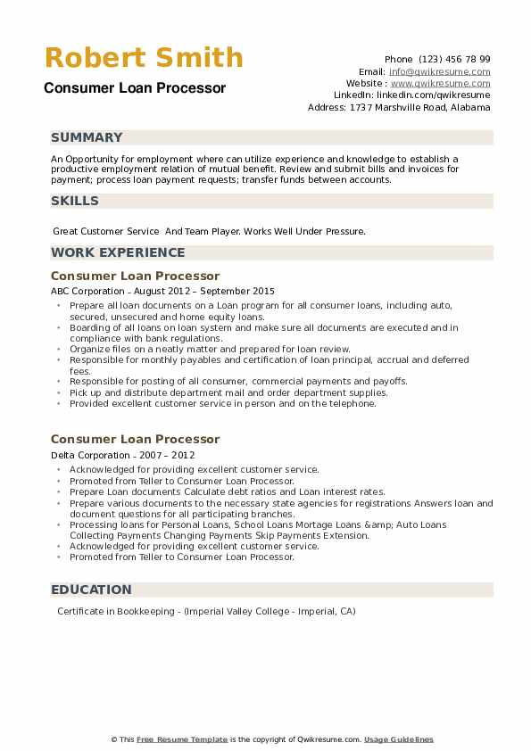 Consumer Loan Processor Resume example