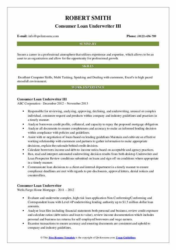 consumer loan underwriter resume samples  qwikresume