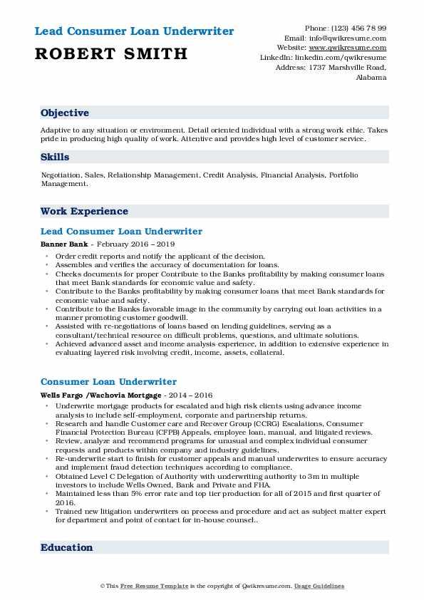consumer loan underwriter resume samples