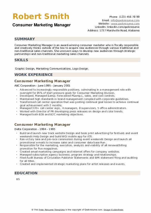 Consumer Marketing Manager Resume example
