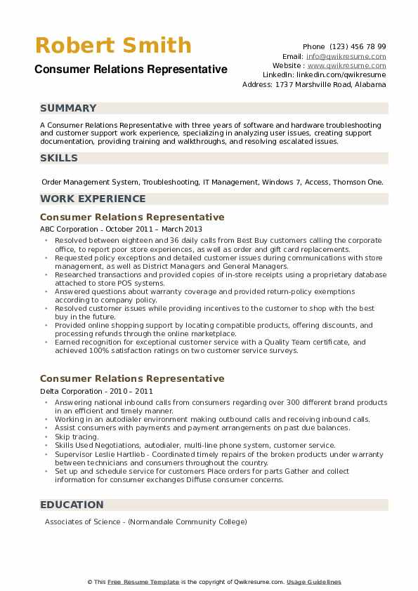 Consumer Relations Representative Resume example
