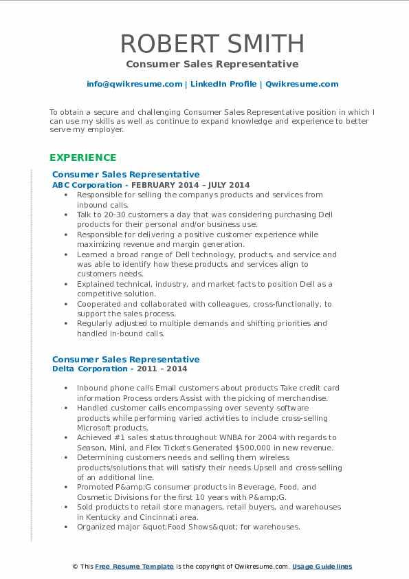 consumer sales representative resume samples  qwikresume