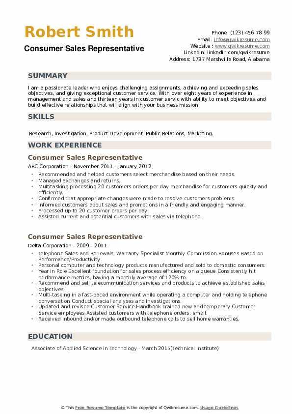 Consumer Sales Representative Resume example