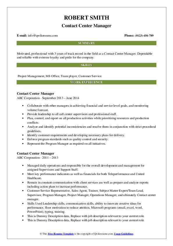 Contact Center Manager Resume example