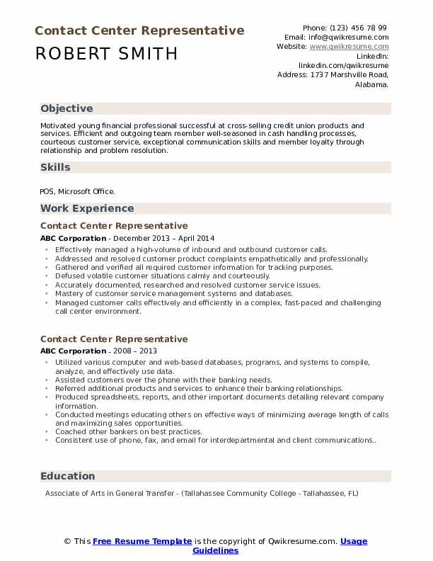 Contact Center Representative Resume Model