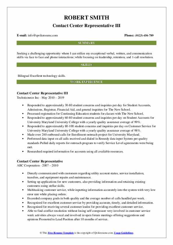 Contact Center Representative III Resume Sample