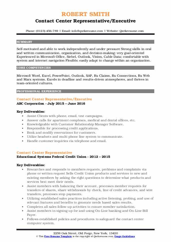 Contact Center Representative/Executive Resume Template