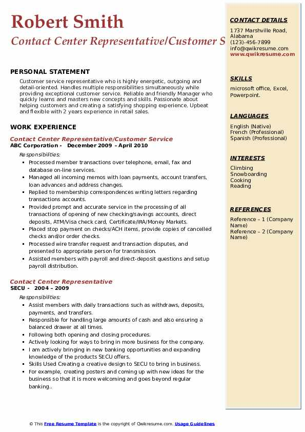 Contact Center Representative/Customer Service Resume Format