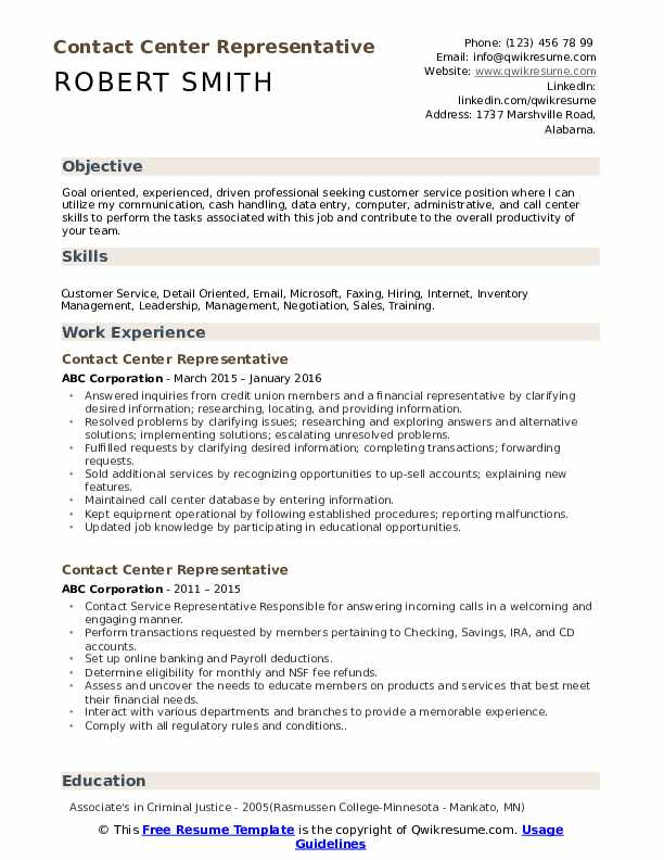 Contact Center Representative Resume example