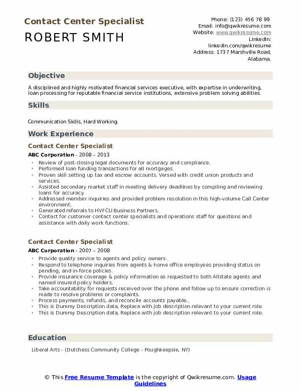 Contact Center Specialist Resume example