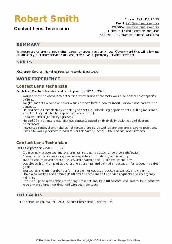 Contact Lens Technician Resume example