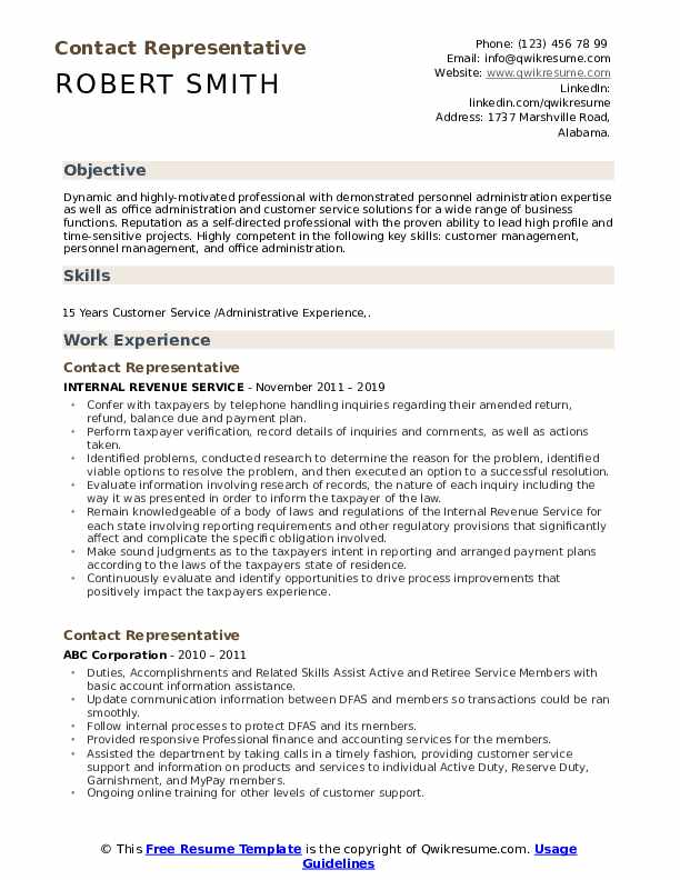 Contact Representative Resume Samples Qwikresume