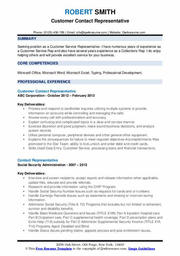 Customer Contact Representative Resume Model
