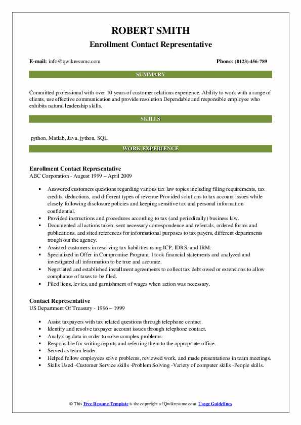 Enrollment Contact Representative Resume Format