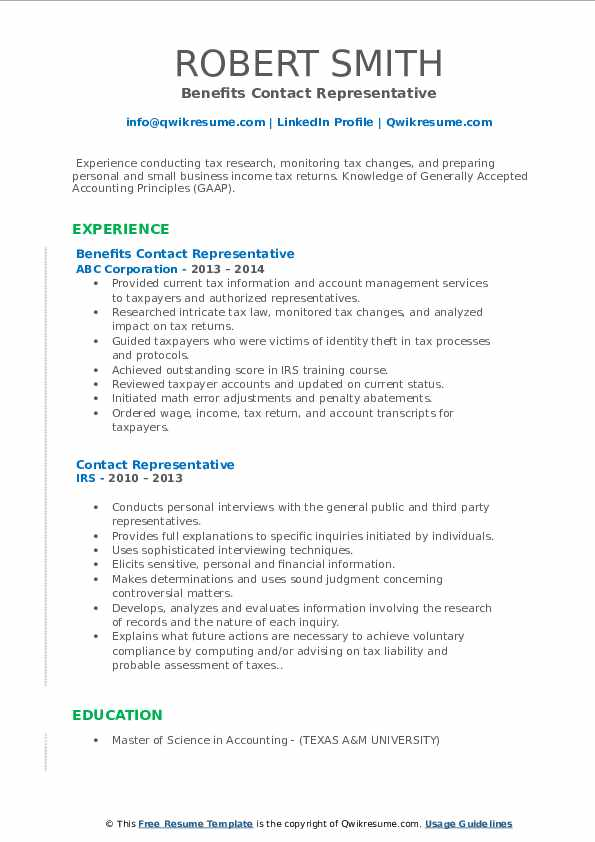 Benefits Contact Representative Resume Sample