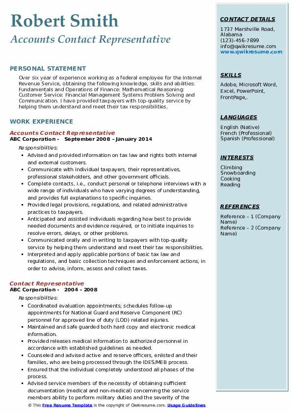 Accounts Contact Representative Resume Format