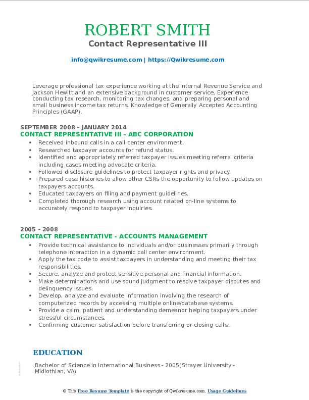 Contact Representative III Resume Template