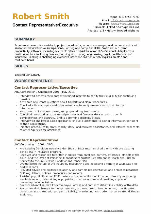 Contact Representative/Executive Resume Template
