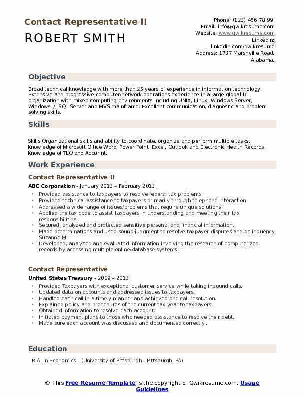 Contact Representative II Resume Template