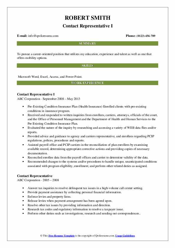 Contact Representative I Resume Sample