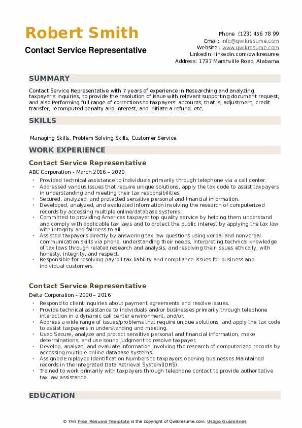 Contact Service Representative Resume example