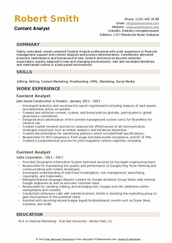 Content Analyst Resume example