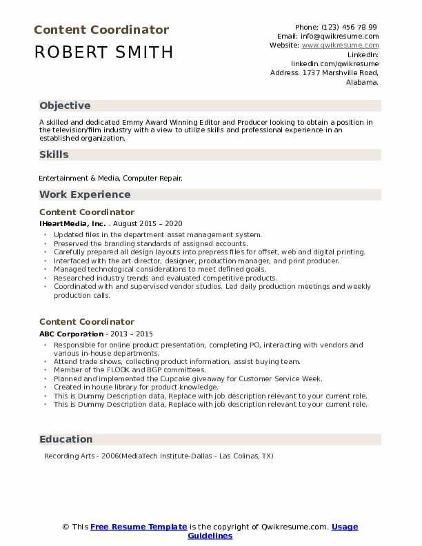 Content Coordinator Resume example