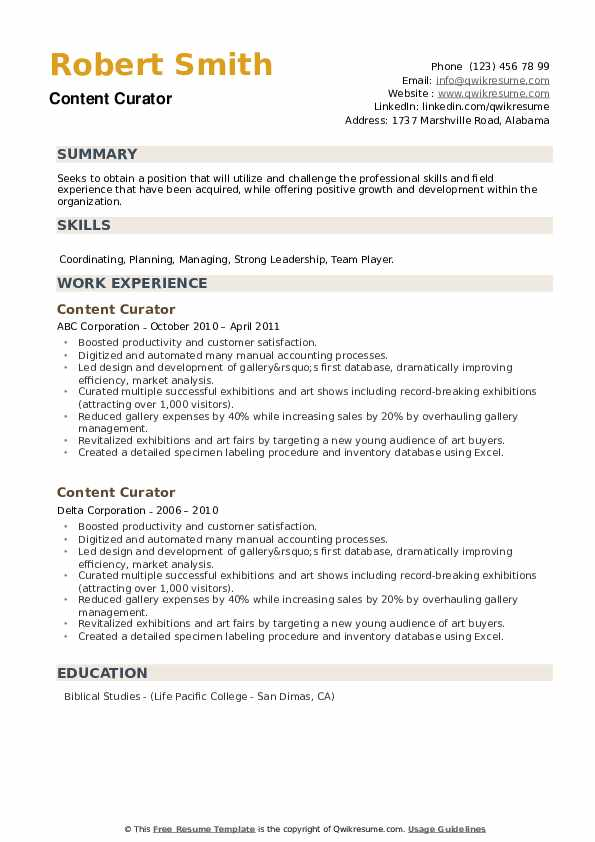 Content Curator Resume example