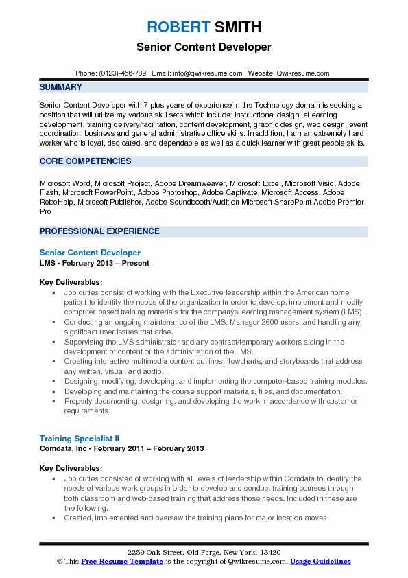 Senior Content Developer Resume Example