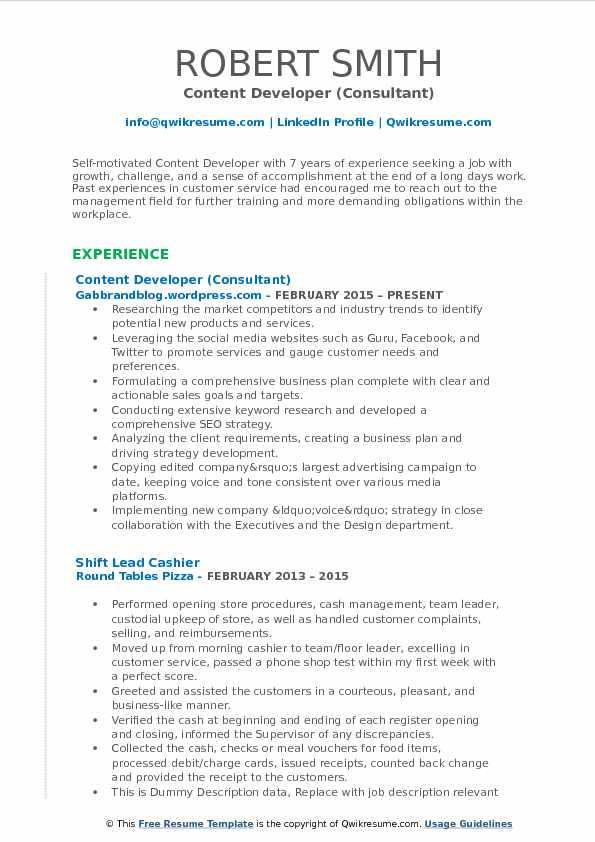 Content Developer (Consultant) Resume Sample