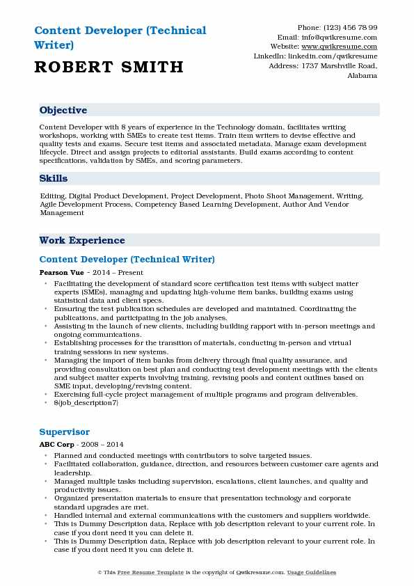Content Developer (Technical Writer) Resume Template