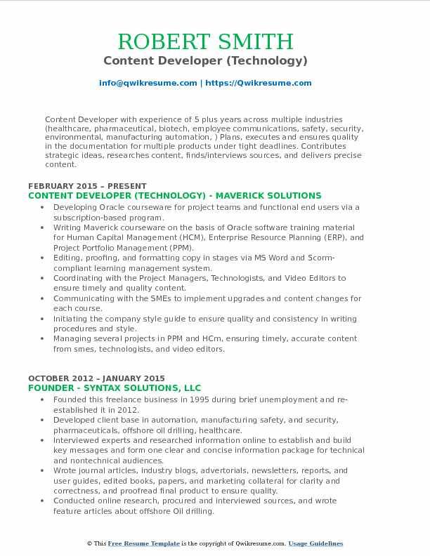 Content Developer (Technology) Resume Format