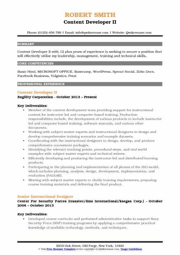 Content Developer II Resume Format