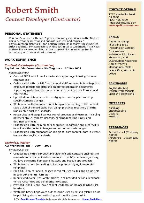 Content Developer (Contractor) Resume Sample