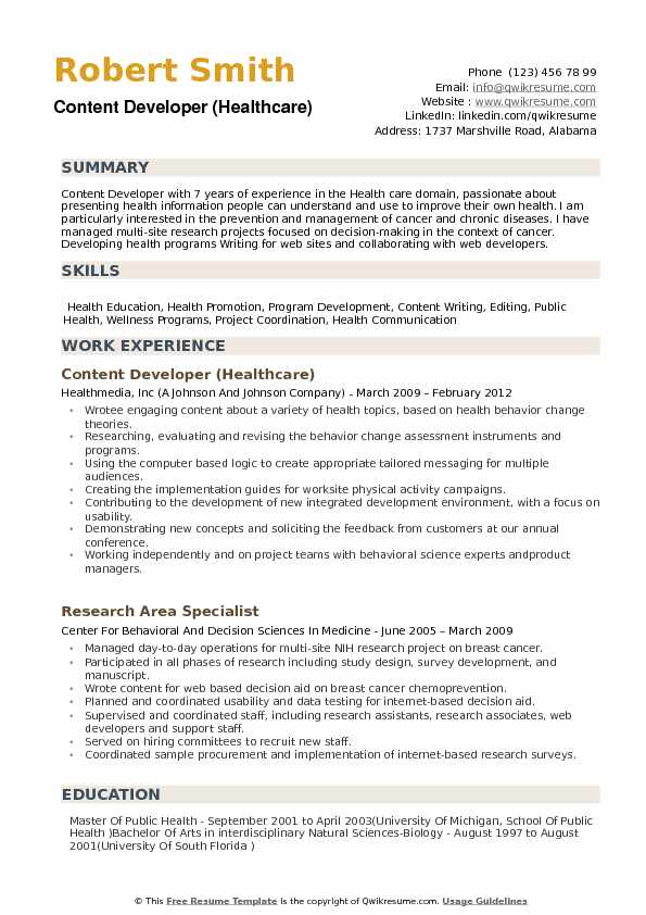 Content Developer Resume example