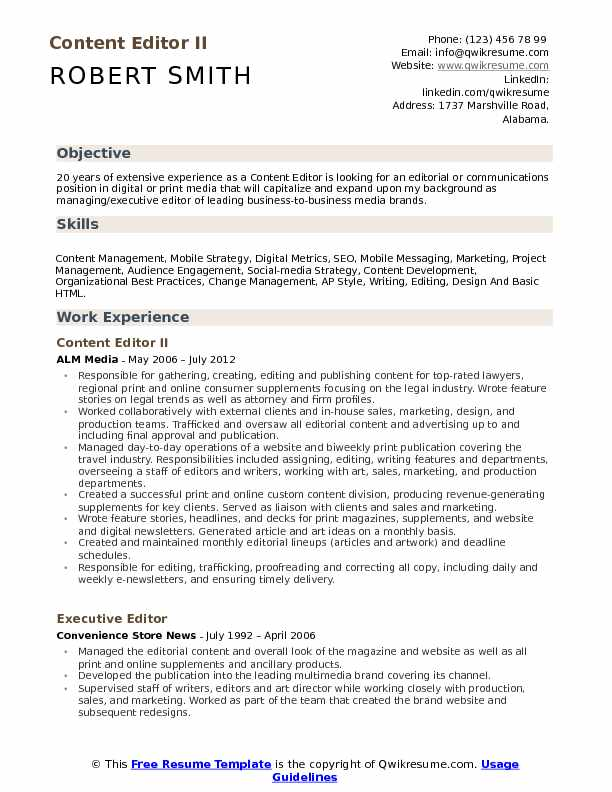 Content Editor II Resume Sample