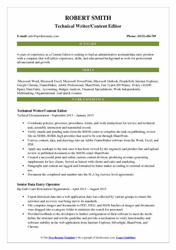 Technical Writer/Content Editor Resume Example