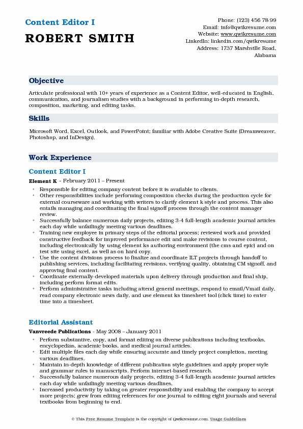 Content Editor I Resume Example
