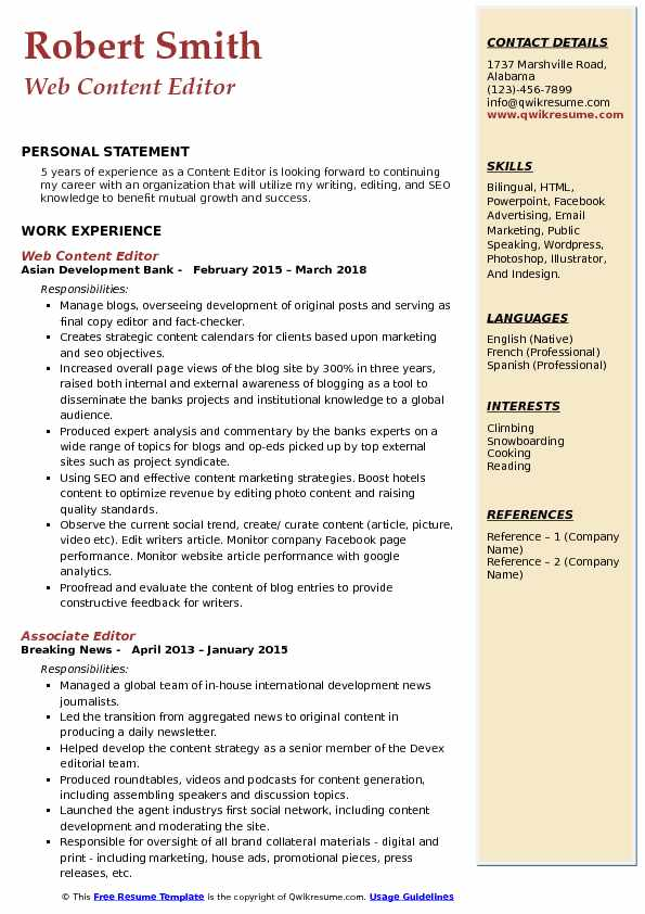 Web Content Editor Resume Example