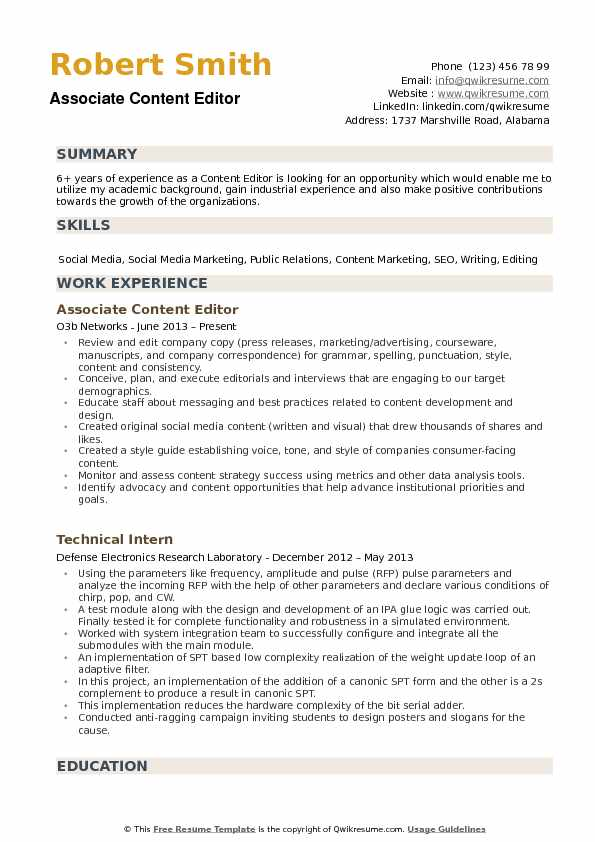 Content Editor Resume example