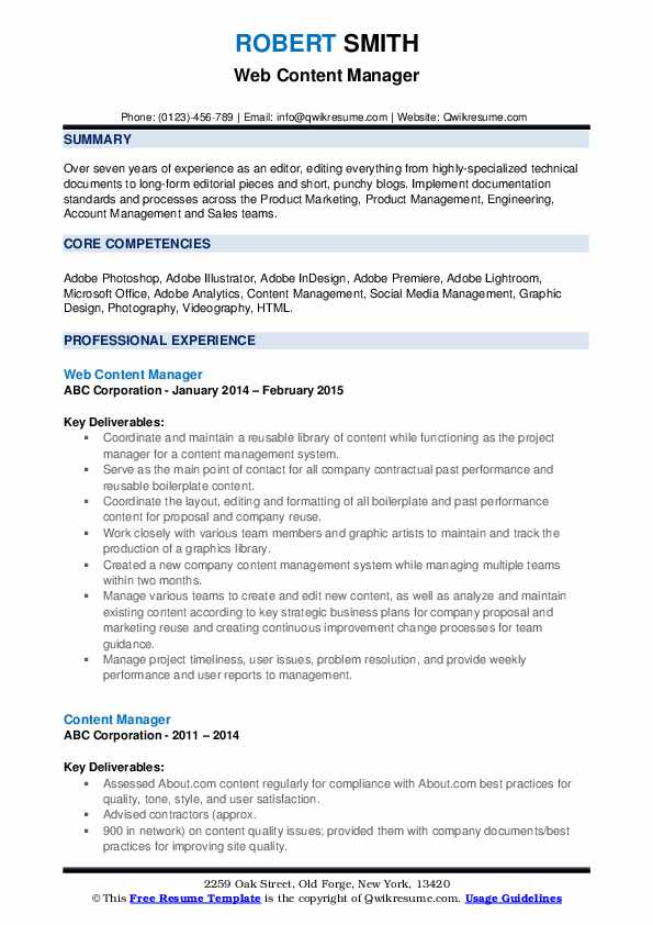 content manager resume samples