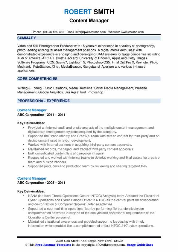 Content Manager Resume example