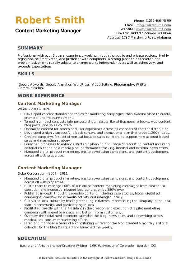 Content Marketing Manager Resume example