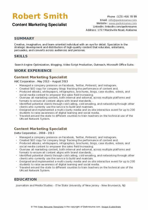 Content Marketing Specialist Resume example