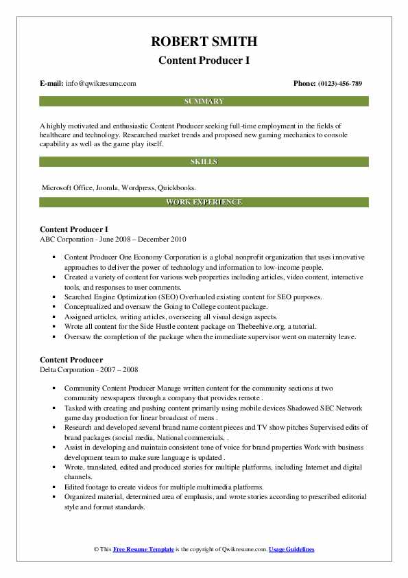 content producer resume samples  qwikresume